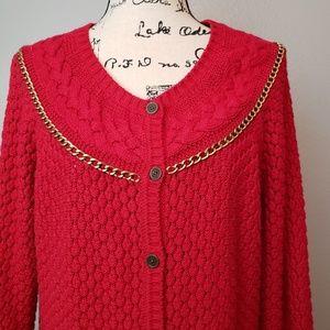 Liz Claiborne Red Chain Detail Long Cardigan XL